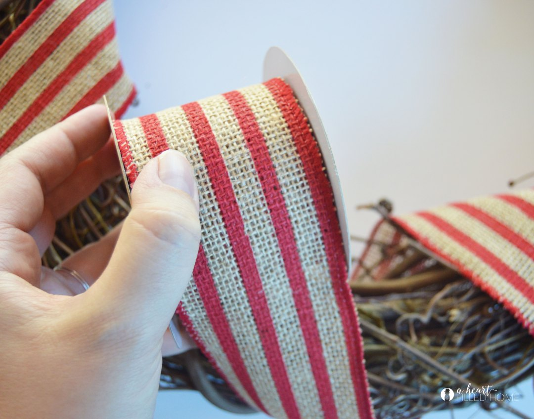 This DIY Patriotic Wreath is so easy to make, and costs less than $5!