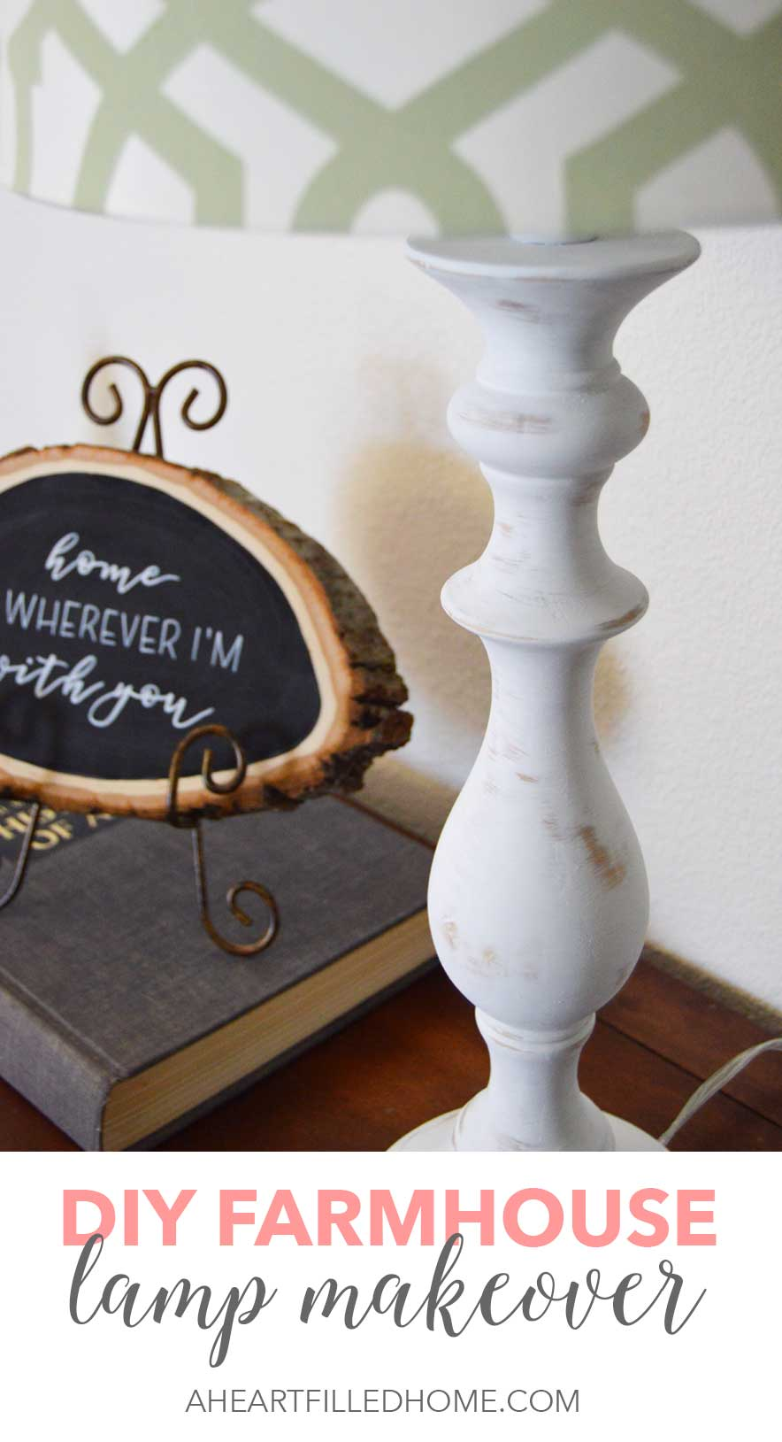 This DIY Farmhouse Lamp Makeover turned out so pretty! It's so simple and easy to do!