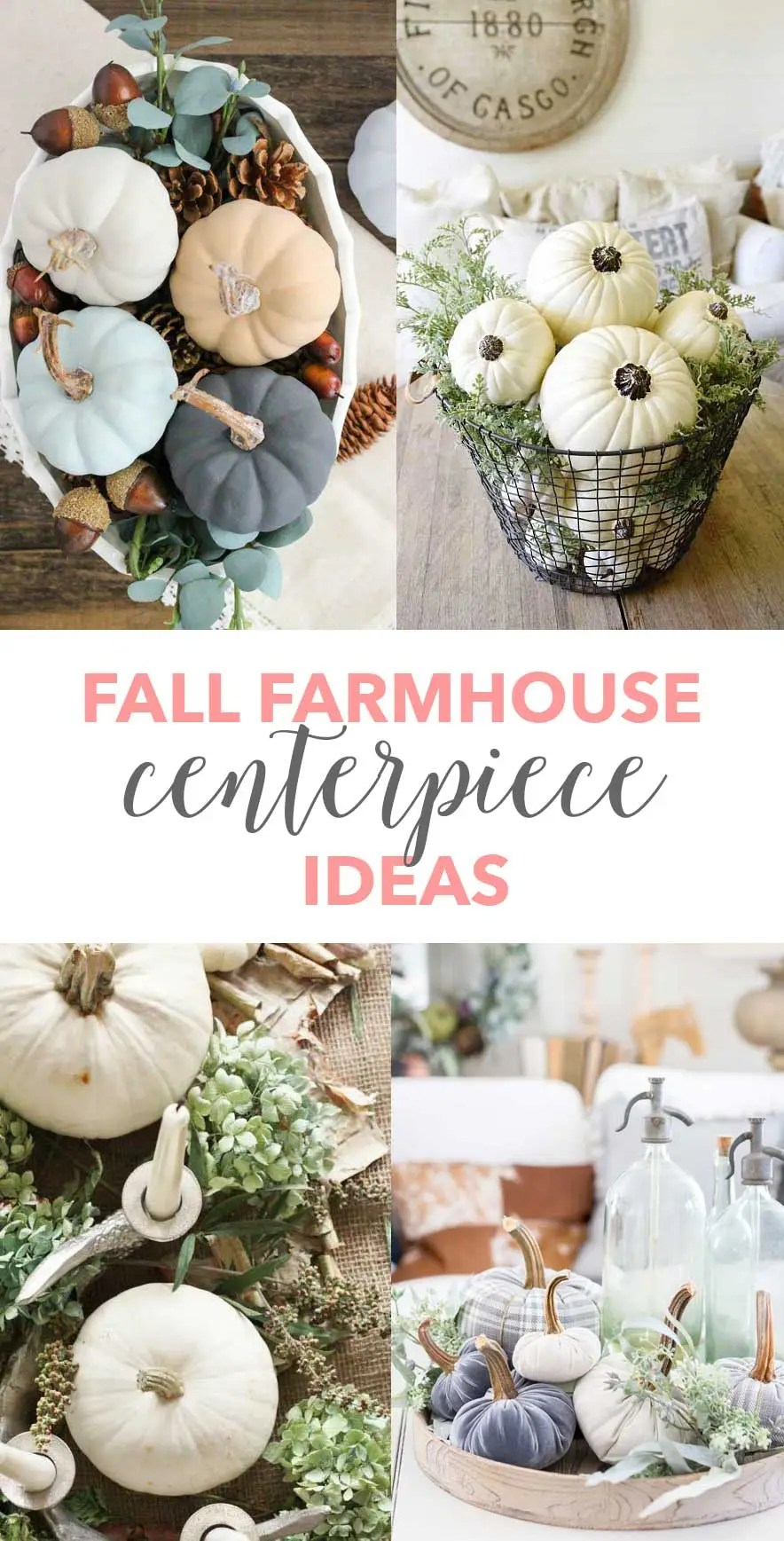 Fall Farmhouse Centerpiece Ideas - Some great ideas for decorating my table for Fall! aheartfilledhome.com