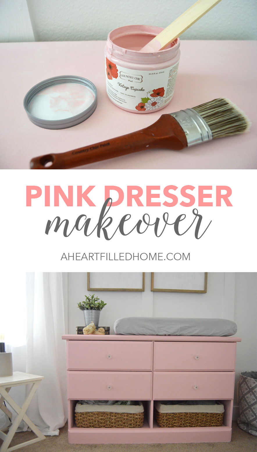 Pink Dresser Makeover - The perfect addition for a baby girl's nursery!