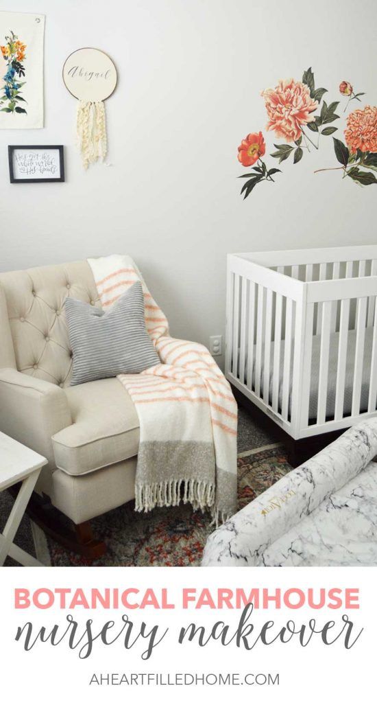 This bedroom started as a dark navy blue room, but you should see it now! This beautiful farmhouse nursery was transformed with botanical decor! From A Heart Filled Home