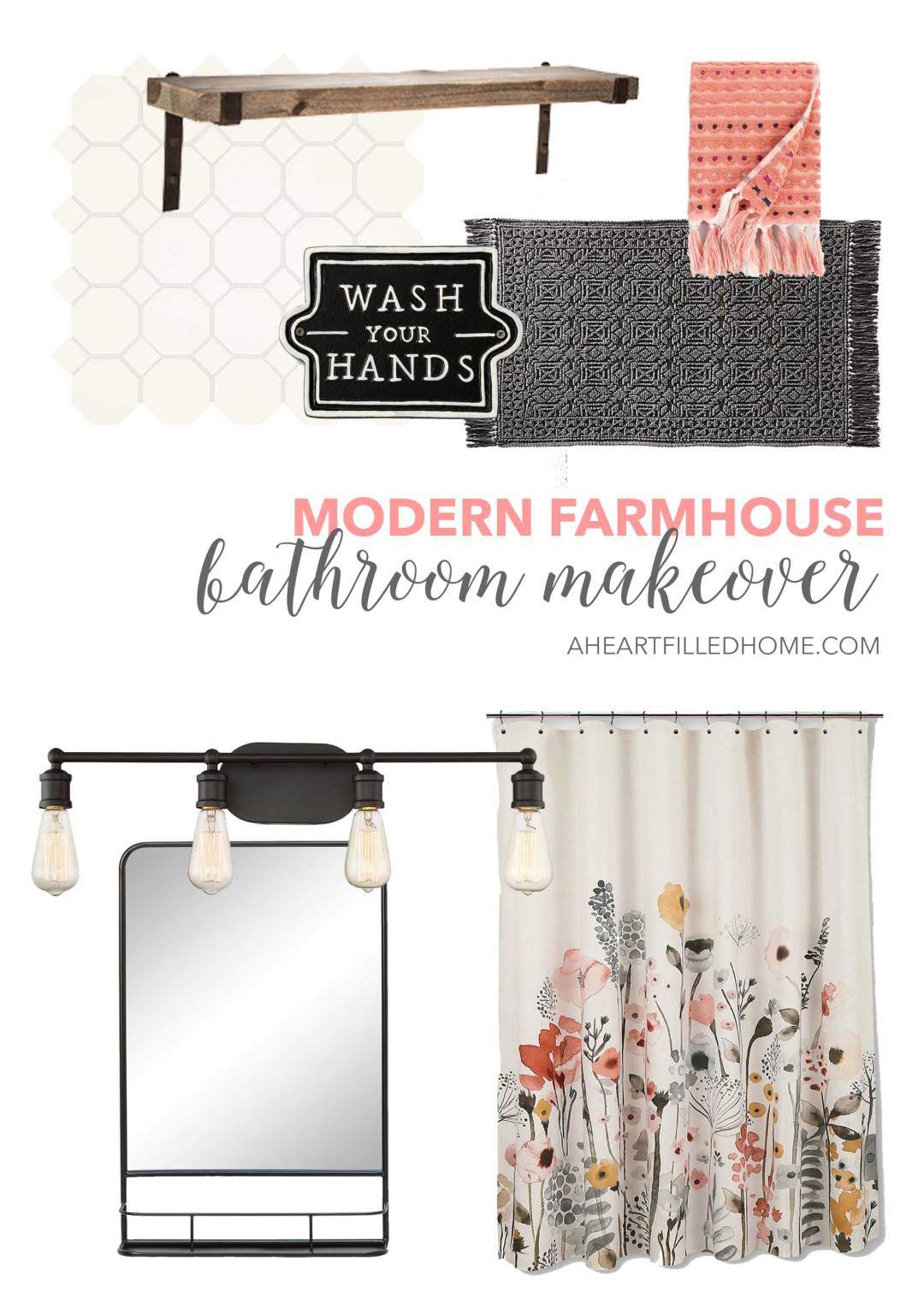 See how I plan to give my bathroom a Modern Farmhouse Makeover! from A Heart Filled Home