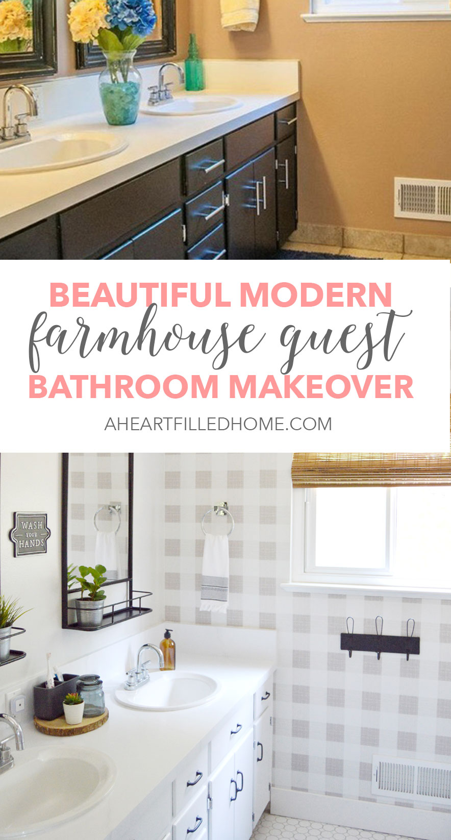 Beautiful Modern Farmhouse Guest Bathroom Makeover Reveal! from A Heart Filled Home