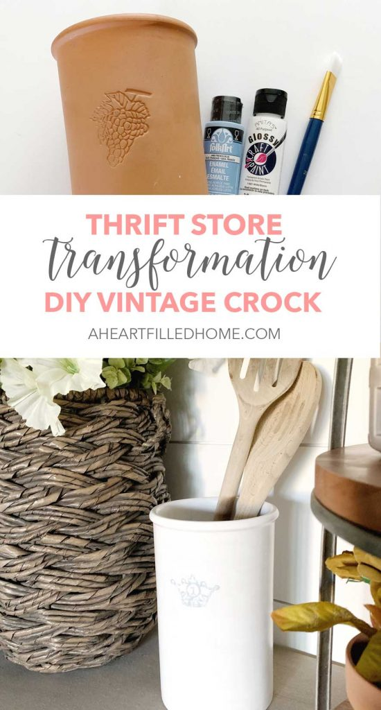 Thrift Store Transformation Tuesday - DIY Vintage Crock from A Heart Filled Home