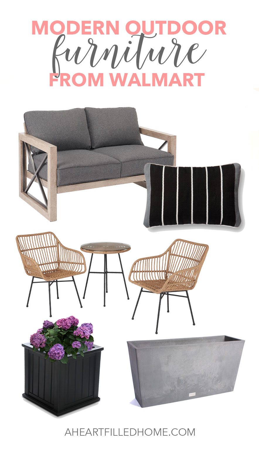 Modern outdoor furniture from Walmart! Find these beautiful and budget friendly outdoor furniture sets, pillows, rugs, and planters from Walmart! from A Heart Filled Home