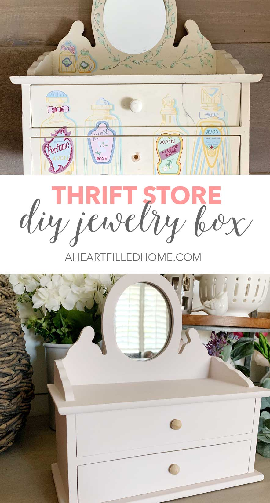 See how I created this DIY jewelry box! This is such an easy way to give an old jewelry box a new life! from A Heart Filled Home