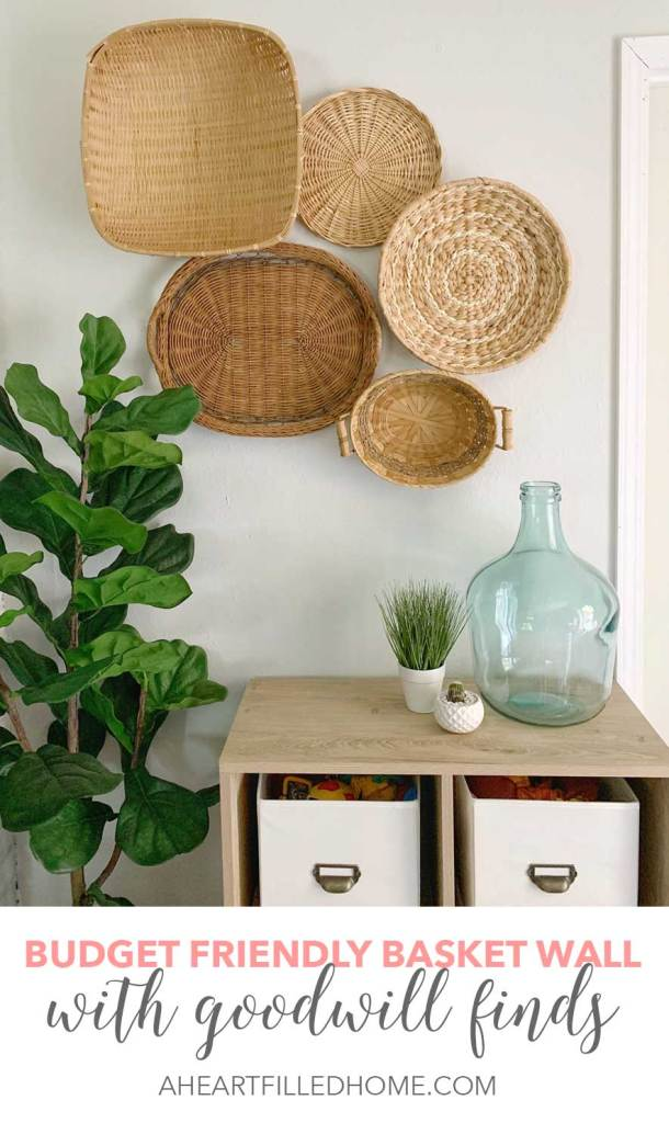 Create this budget friendly basket wall with some cheap Goodwill finds! from A Heart Filled Home