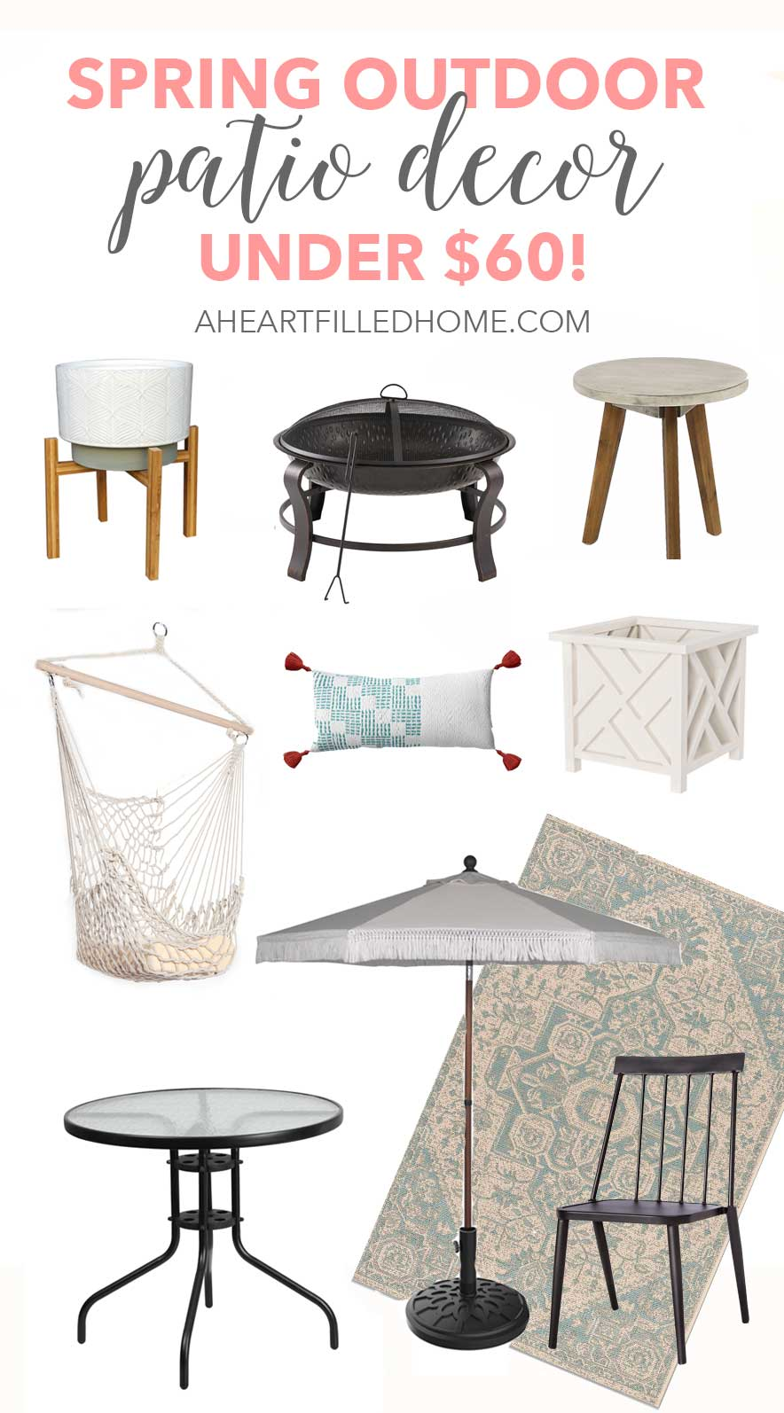 Spring Outdoor Patio Decor under $60! These budget friendly outdoor decor items will be perfect for a backyard makeover! from A Heart Filled Home