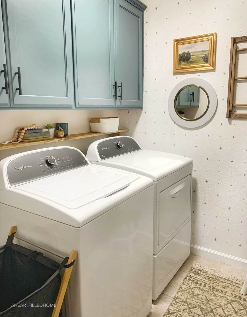 Budget Friendly Laundry Room Makeover Reveal $100 Room Challenge - from A Heart Filled Home