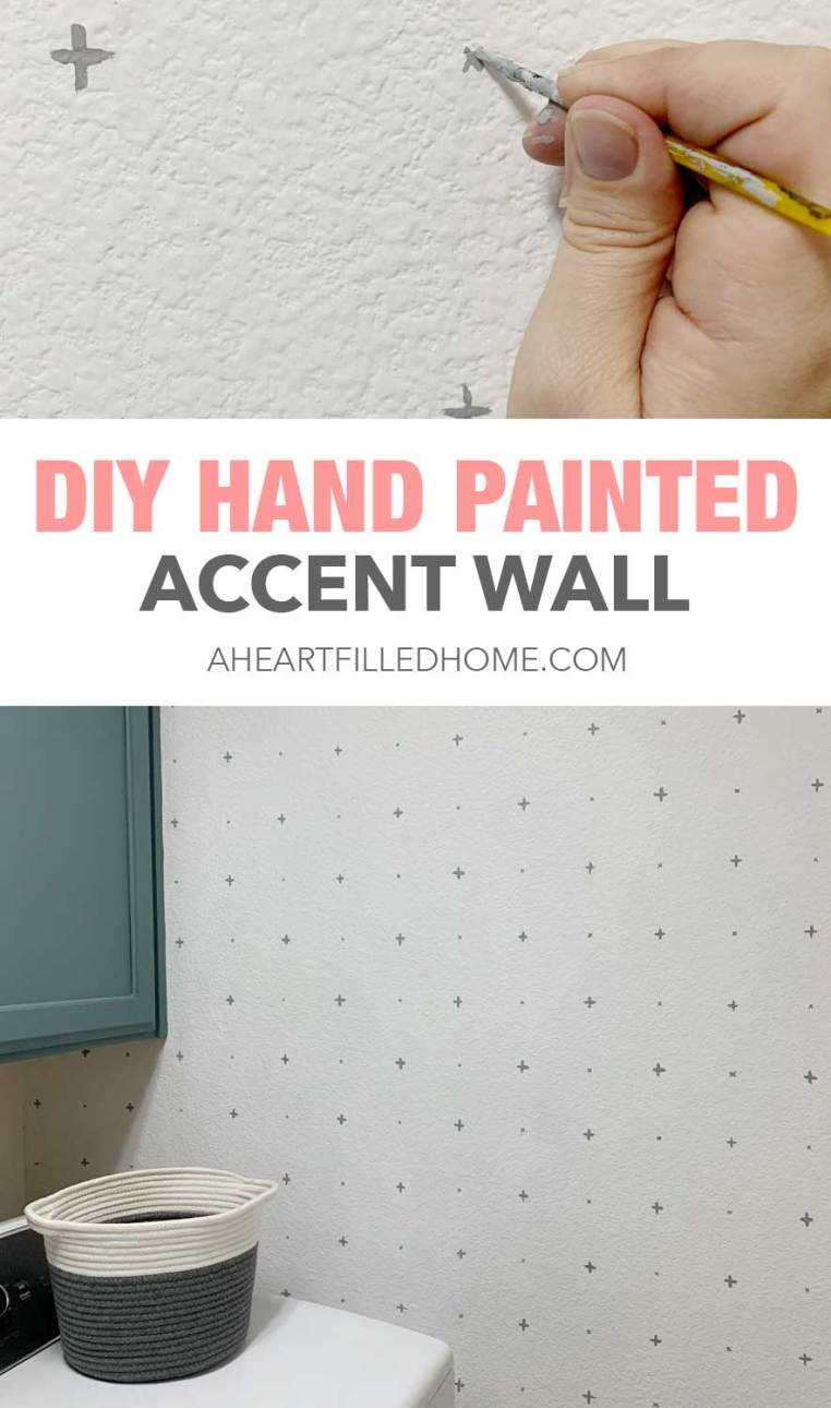 Budget Friendly Laundry Room Makeover - $100 Room Challenge Week 2 - DIY Handpainted Accent Wall