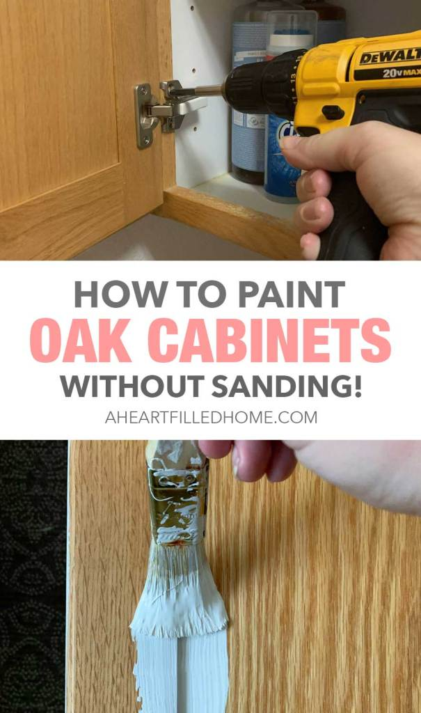 Budget Friendly Laundry Room Makeover - $100 Room Challenge Week 2 - How To Paint Oak Cabinets Without Sanding!