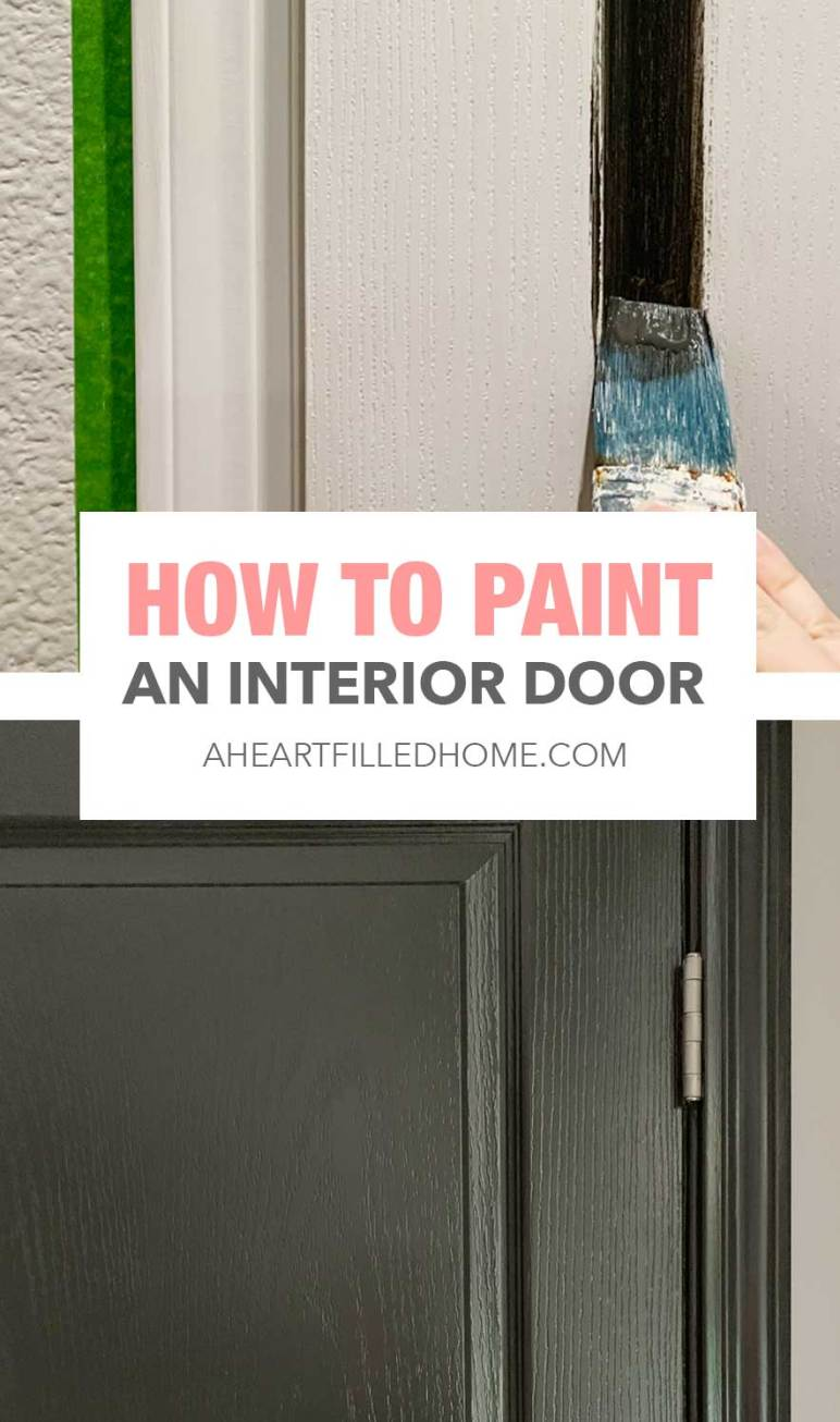 How To Paint An Interior Door - Kitchen Makeover One Room Challenge from A Heart Filled Home