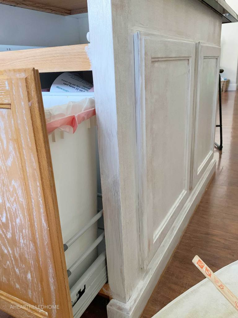 How To Paint Oak Cabinets And Hide The Grain - Kitchen Makeover Progress from A Heart Filled Home