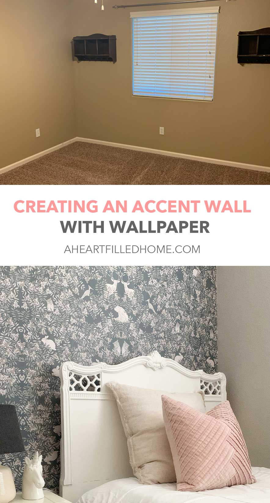 ORC shared girls room makeover - accent wall with wallpaper