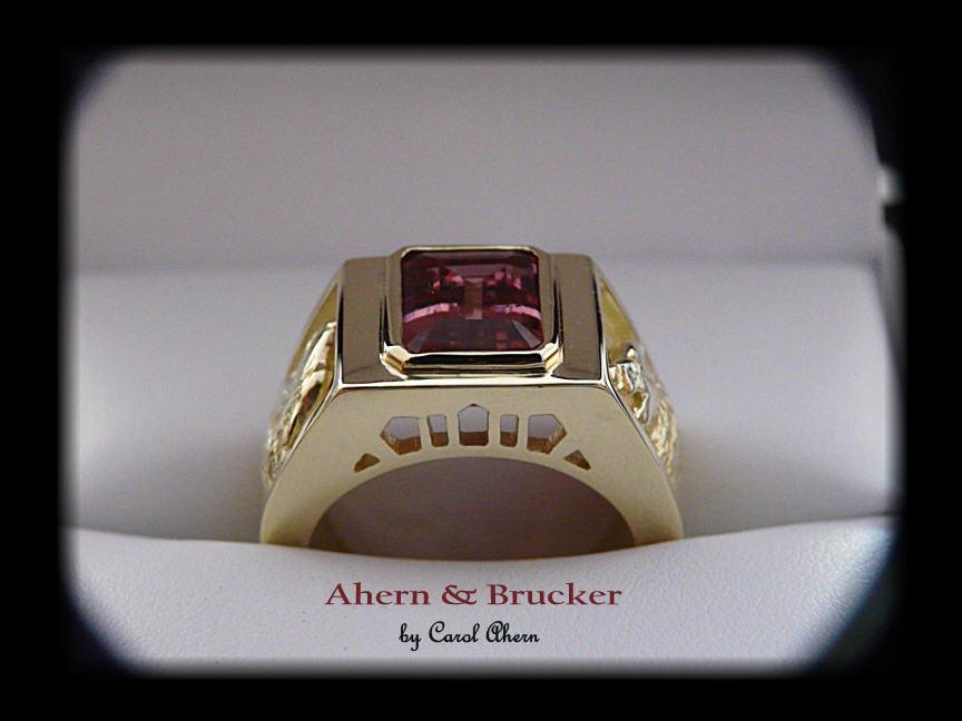Ahern Amp Brucker 18k Imperial Topaz Wolf Ring