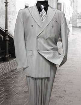Light Grey Double Breasted Pinstripe Suit by Tessori