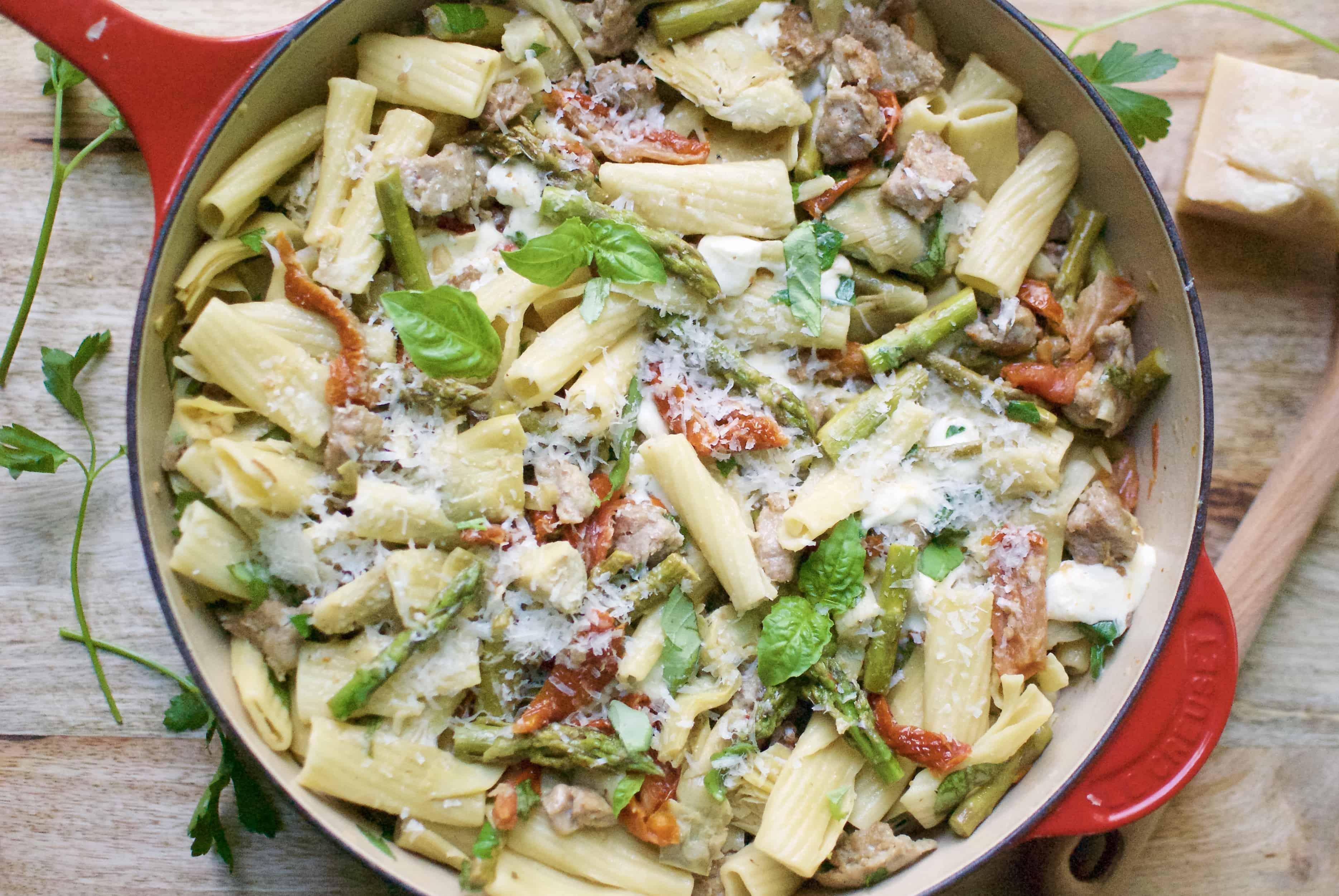 rigatoni with sausage, artichokes & asparagus