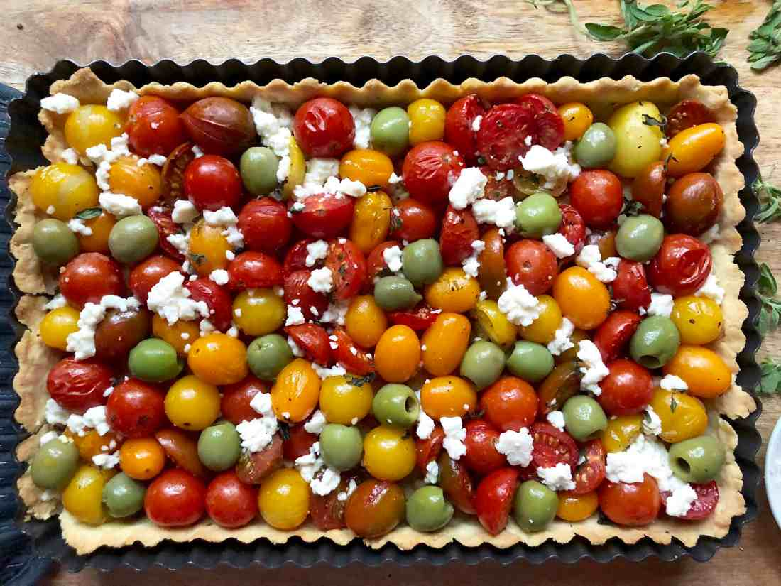 summer or anytime tomato & olive tart