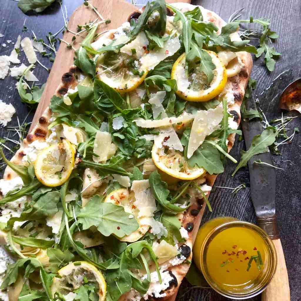 grilled flatbread with artichokes & ricotta