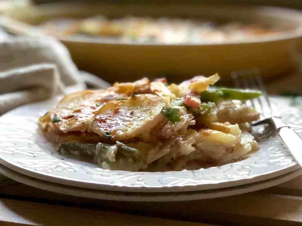 potato gratin with haricots verts & ham