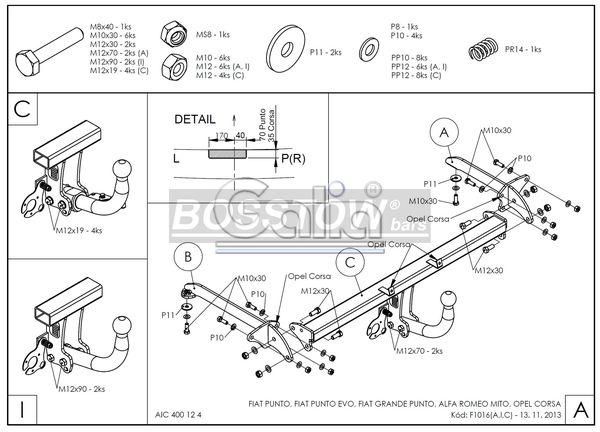 Anhängerkupplung starr Alfa Romeo Mito AHK starr 1135404