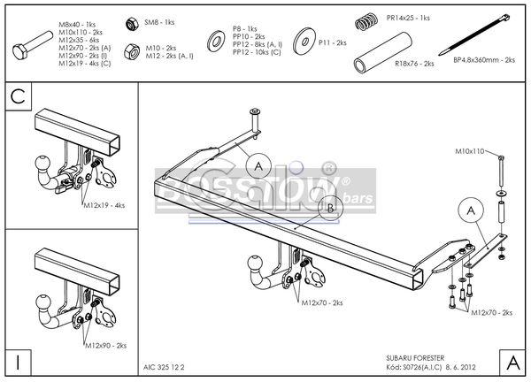 Anhängerkupplung starr Subaru Forester AHK starr 1132752