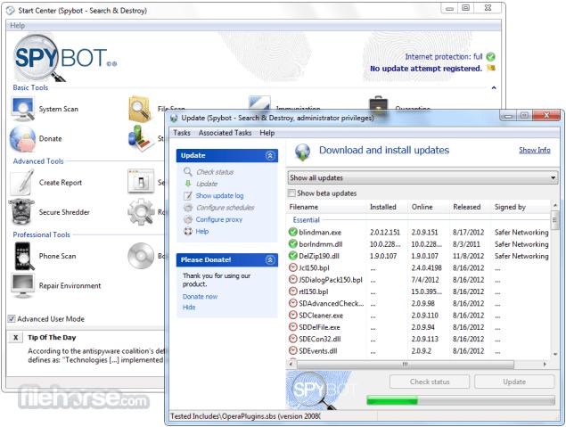 Spybot Search Destroy 2.4 برنامج كشف ملفات التجسس وتدميرها