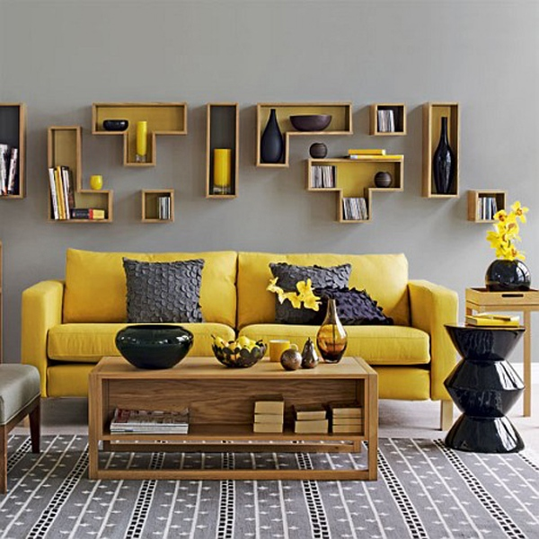 ديكورات غرف جلوس باللون الاصفر 2015