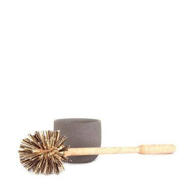 Toalettborste i trä, grå