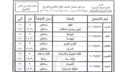 جدول امتحانات الثانوية الأزهرية 2019 علمي وأدبي