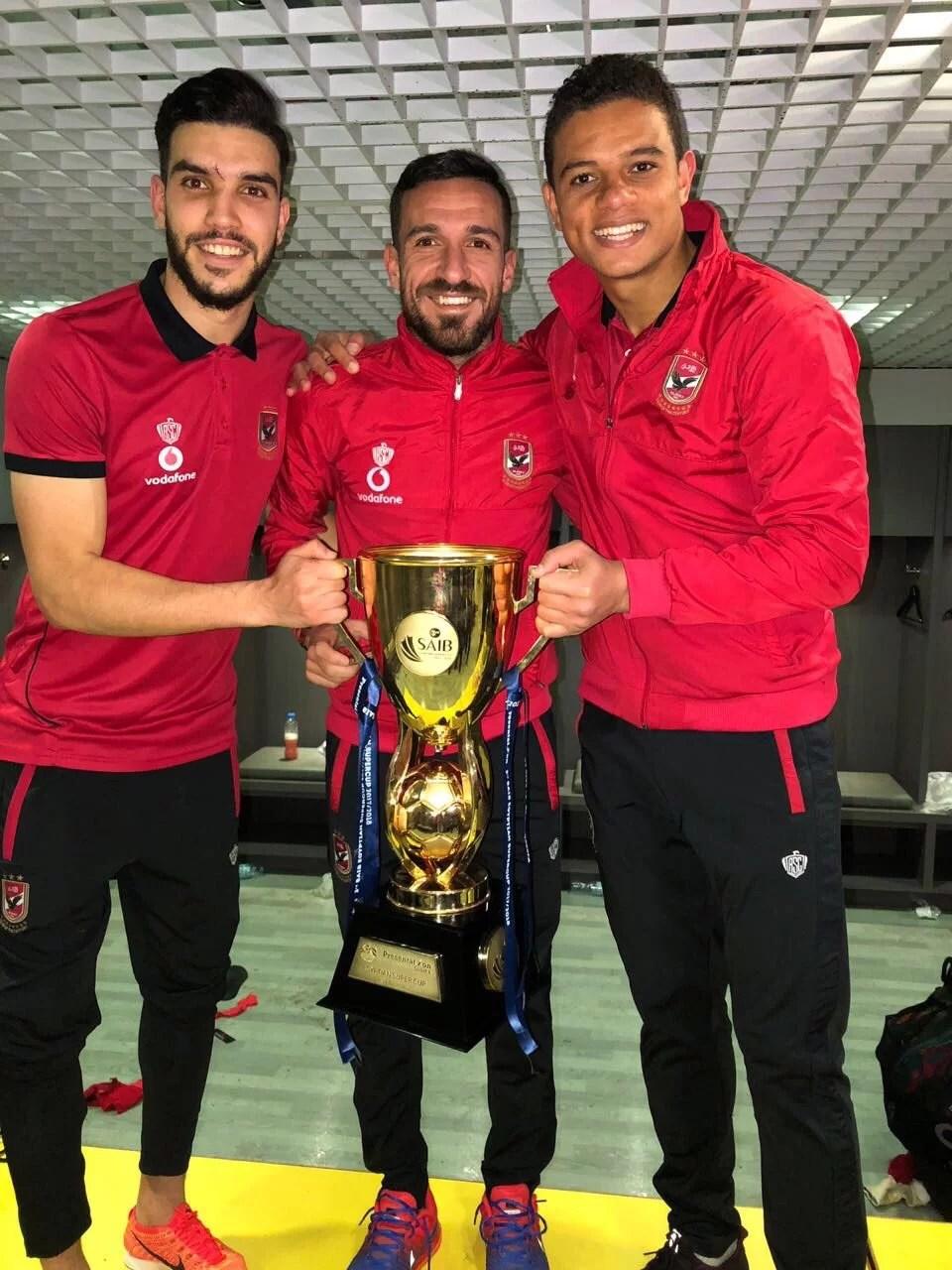 صور فرحة لاعبي النادي الأهلي بعد الفوز على البورسعيدي في السوبر