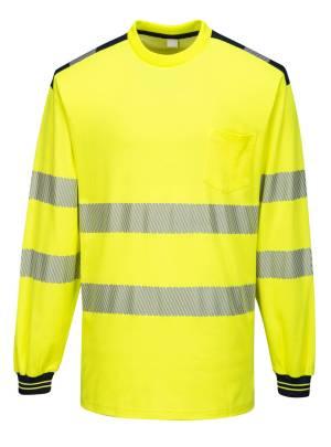 Keltainen-musta Portwest huomiovärinen pitkähihainen t-paita