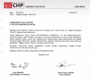CHP KONGRE SÜRECİ GENELGESİ