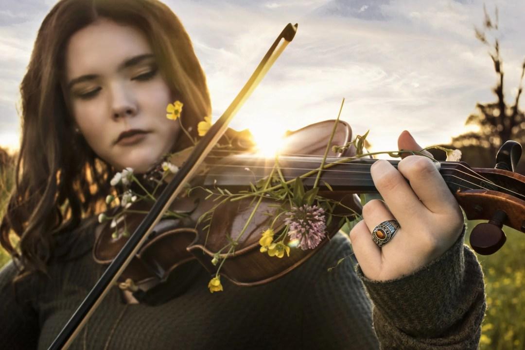 artistic musical senior photo playing violin