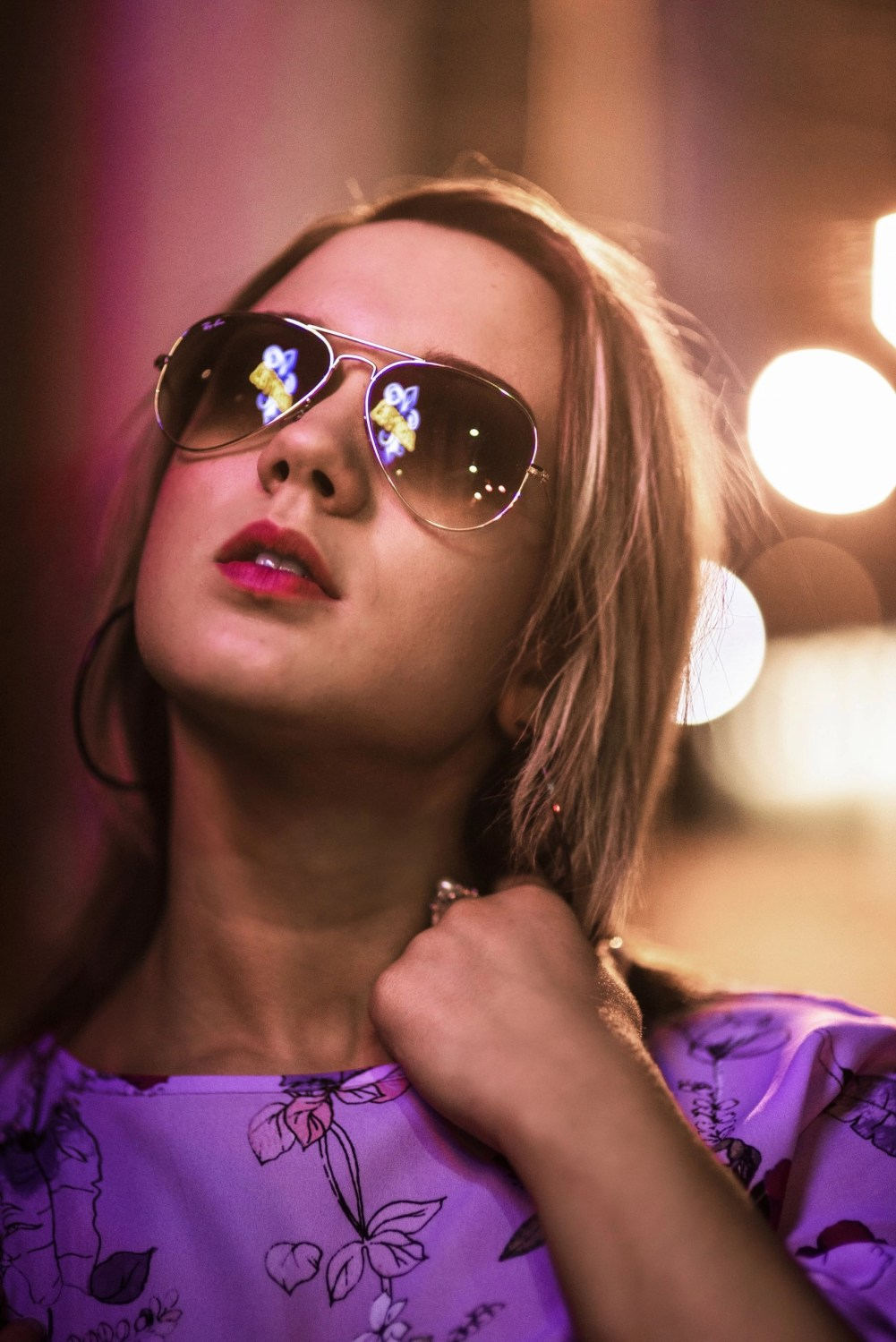 creative unique edgy senior photography of girl wearing sunglasses