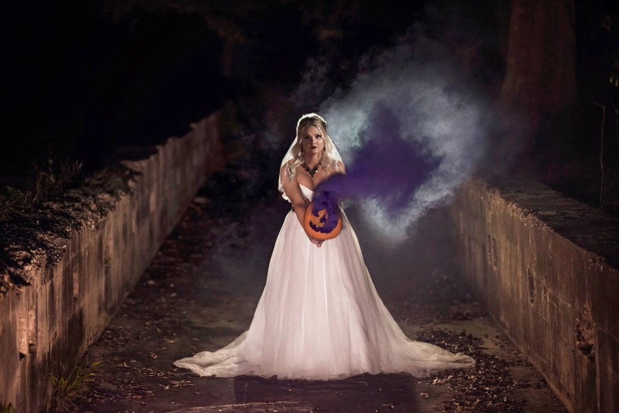 Halloween bridal purple smokebomb pumpkin dress weddingdress ahnvee Louisiana