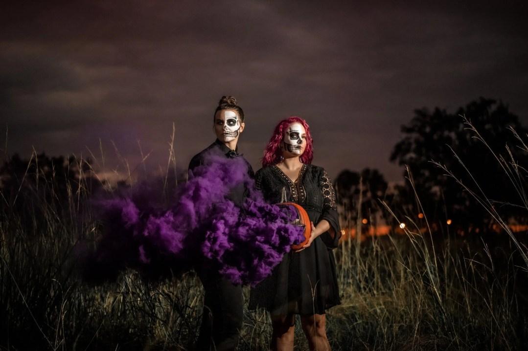 halloween couple purple smokebombs skull makeup fxmakeup couple spooky redhair mysterious