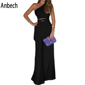 Aliexpress Amazon New Product Slant Collar Off Shoulder Jumpsuit Sexy Explosion Wide Leg Pants