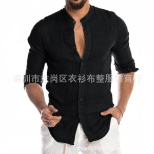 AliExpress Linen New Cardigan Long Sleeve Men's Shirt