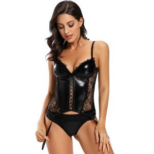 Amazon explosion style court sexy leather model lace sexy corset garter plastic top