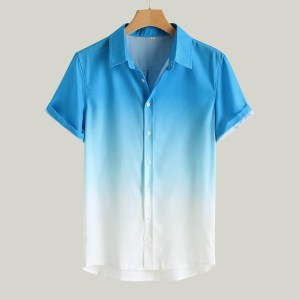 AliExpress explosive men's stand-up collar gradient color short-sleeved shirt