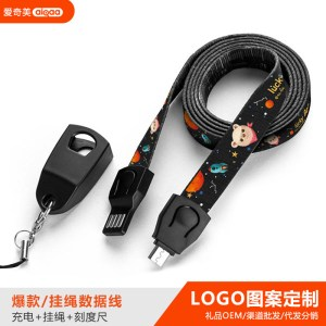 Aiqimei lanyard data cable Apple for mobile phone Android weave custom storage charging cable