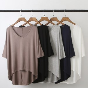 spring and summer new modal bat sleeve sleeve shirt female casual Korean collar solid color large size bottoming shirt