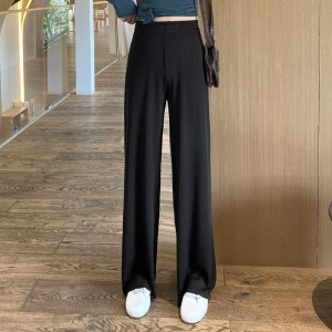 spring and summer Korean style loose casual pants knitted wild pants high waist drape wide leg pants female trousers
