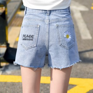 real shot embroidery small daisy shorts jeans summer high waist pants female new straight pants Hong Kong style