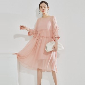 silk fairy skirt summer new solid color ruffled high waist French 3/4 sleeve dress women