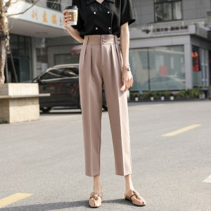 new summer apricot suit trousers women straight straight loose drape feeling thin nine points harem pants thin high waist pants