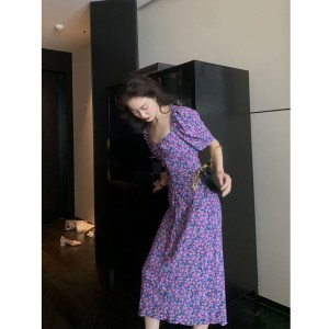 purple French retro floral dress with slim waist and puff sleeve collar chiffon skirt