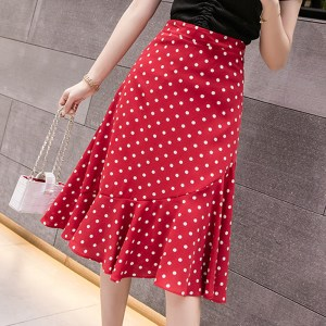 polka dot fishtail skirt female summer commuter temperament women's net red super fire slim slim high waist skirt