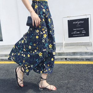 chiffon skirt summer beach floral dress high waist lace one-piece printed skirt long skirt women